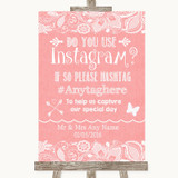 Coral Burlap & Lace Instagram Photo Sharing Customised Wedding Sign