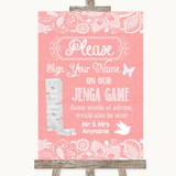 Coral Burlap & Lace Jenga Guest Book Customised Wedding Sign