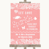 Coral Burlap & Lace Let Love Sparkle Sparkler Send Off Customised Wedding Sign