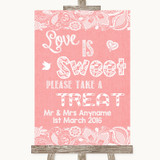 Coral Burlap & Lace Love Is Sweet Take A Treat Candy Buffet Wedding Sign