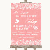 Coral Burlap & Lace Loved Ones In Heaven Customised Wedding Sign