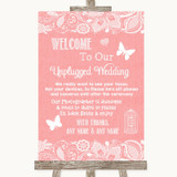 Coral Burlap & Lace No Phone Camera Unplugged Customised Wedding Sign