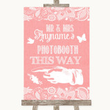 Coral Burlap & Lace Photobooth This Way Left Customised Wedding Sign