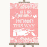 Coral Burlap & Lace Photobooth This Way Right Customised Wedding Sign