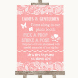 Coral Burlap & Lace Pick A Prop Photobooth Customised Wedding Sign