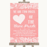 Coral Burlap & Lace Puzzle Piece Guest Book Customised Wedding Sign