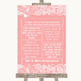 Coral Burlap & Lace Romantic Vows Customised Wedding Sign