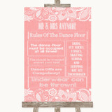 Coral Burlap & Lace Rules Of The Dance Floor Customised Wedding Sign