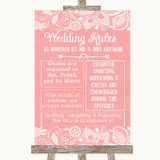 Coral Burlap & Lace Rules Of The Wedding Customised Wedding Sign