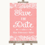 Coral Burlap & Lace Save The Date Customised Wedding Sign