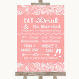 Coral Burlap & Lace Signature Favourite Drinks Customised Wedding Sign