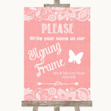 Coral Burlap & Lace Signing Frame Guestbook Customised Wedding Sign