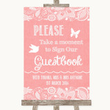 Coral Burlap & Lace Take A Moment To Sign Our Guest Book Wedding Sign
