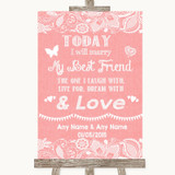Coral Burlap & Lace Today I Marry My Best Friend Customised Wedding Sign