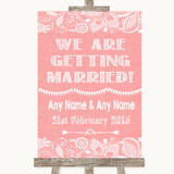 Coral Burlap & Lace We Are Getting Married Customised Wedding Sign