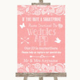 Coral Burlap & Lace Wedpics App Photos Customised Wedding Sign
