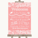Coral Burlap & Lace Welcome Order Of The Day Customised Wedding Sign