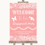 Coral Burlap & Lace Welcome To Our Engagement Party Customised Wedding Sign