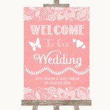 Coral Burlap & Lace Welcome To Our Wedding Customised Wedding Sign