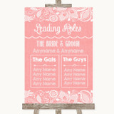Coral Burlap & Lace Who's Who Leading Roles Customised Wedding Sign