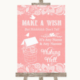 Coral Burlap & Lace Wishing Well Message Customised Wedding Sign