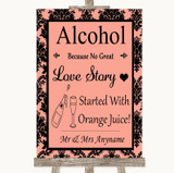 Coral Damask Alcohol Bar Love Story Customised Wedding Sign