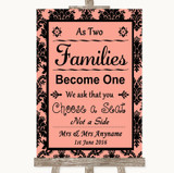 Coral Damask As Families Become One Seating Plan Customised Wedding Sign