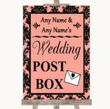 Coral Damask Card Post Box Customised Wedding Sign