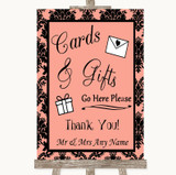 Coral Damask Cards & Gifts Table Customised Wedding Sign