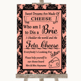Coral Damask Cheese Board Song Customised Wedding Sign