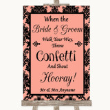Coral Damask Confetti Customised Wedding Sign