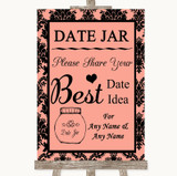 Coral Damask Date Jar Guestbook Customised Wedding Sign