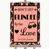 Coral Damask Don't Be Blinded Sunglasses Customised Wedding Sign