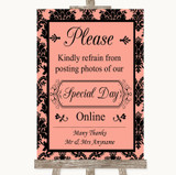 Coral Damask Don't Post Photos Online Social Media Customised Wedding Sign