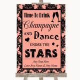 Coral Damask Drink Champagne Dance Stars Customised Wedding Sign