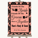 Coral Damask Friends Of The Bride Groom Seating Customised Wedding Sign