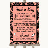 Coral Damask Grab A Bag Candy Buffet Cart Sweets Customised Wedding Sign
