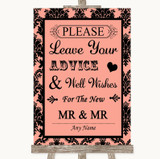 Coral Damask Guestbook Advice & Wishes Gay Customised Wedding Sign