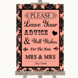 Coral Damask Guestbook Advice & Wishes Lesbian Customised Wedding Sign