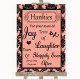 Coral Damask Hankies And Tissues Customised Wedding Sign