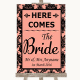 Coral Damask Here Comes Bride Aisle Sign Customised Wedding Sign