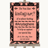 Coral Damask Instagram Photo Sharing Customised Wedding Sign