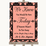 Coral Damask Loved Ones In Heaven Customised Wedding Sign