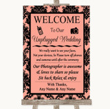 Coral Damask No Phone Camera Unplugged Customised Wedding Sign