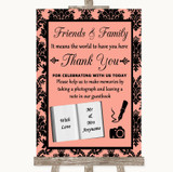 Coral Damask Photo Guestbook Friends & Family Customised Wedding Sign