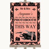 Coral Damask Photobooth This Way Left Customised Wedding Sign