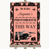 Coral Damask Photobooth This Way Right Customised Wedding Sign