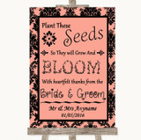 Coral Damask Plant Seeds Favours Customised Wedding Sign