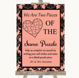 Coral Damask Puzzle Piece Guest Book Customised Wedding Sign