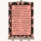 Coral Damask Romantic Vows Customised Wedding Sign